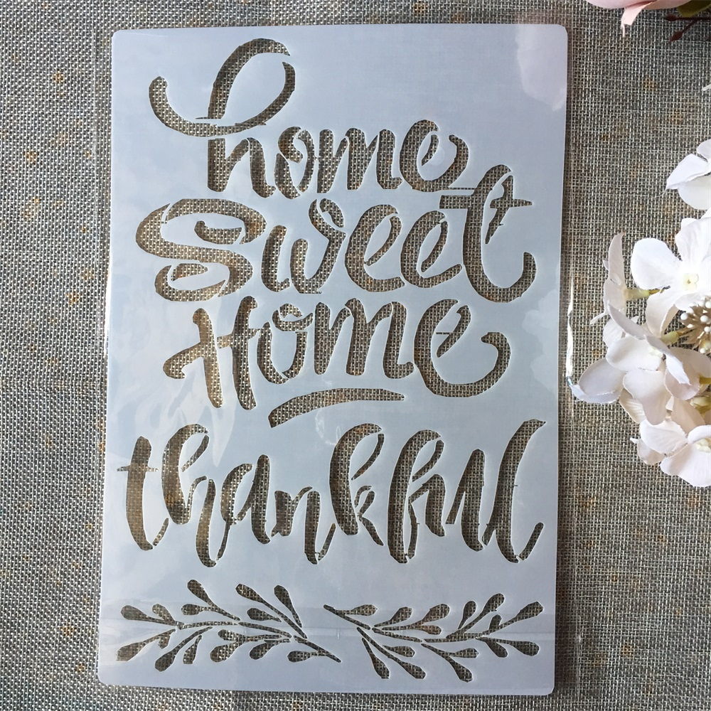 A4 Home Sweet Words DIY Layering Stencils Painting Scrapbook Coloring Embossing Album Decorative Paper Card Template