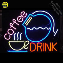 NEON SIGN for Coffee Drink GLASS Tube Cup and Bottle Light Sign Store Display Handcraft Design Iconic Sign Pub Signs(China)