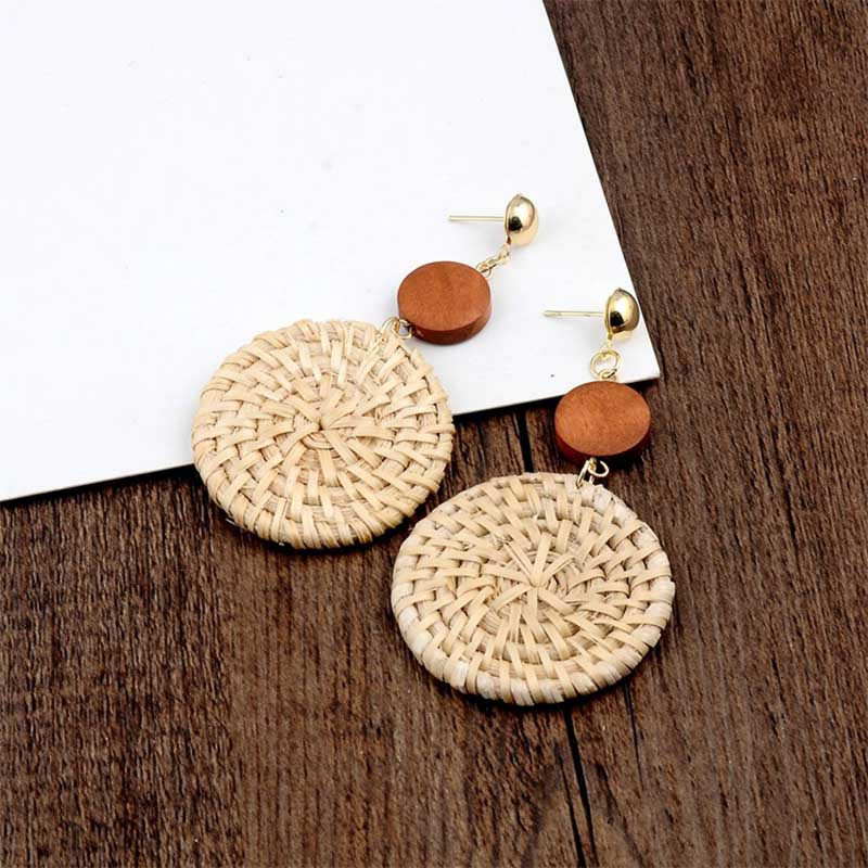 Geometric Wooden Straw Weave Women Beach Bohemian Circle Holiday Dangle Summer Drop Earrings Square Rattan Jewelry Earrings 9