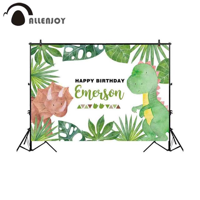 Allenjoy backdrop for photographic studio green plants surround different cute dinosaur birthday background photobooth