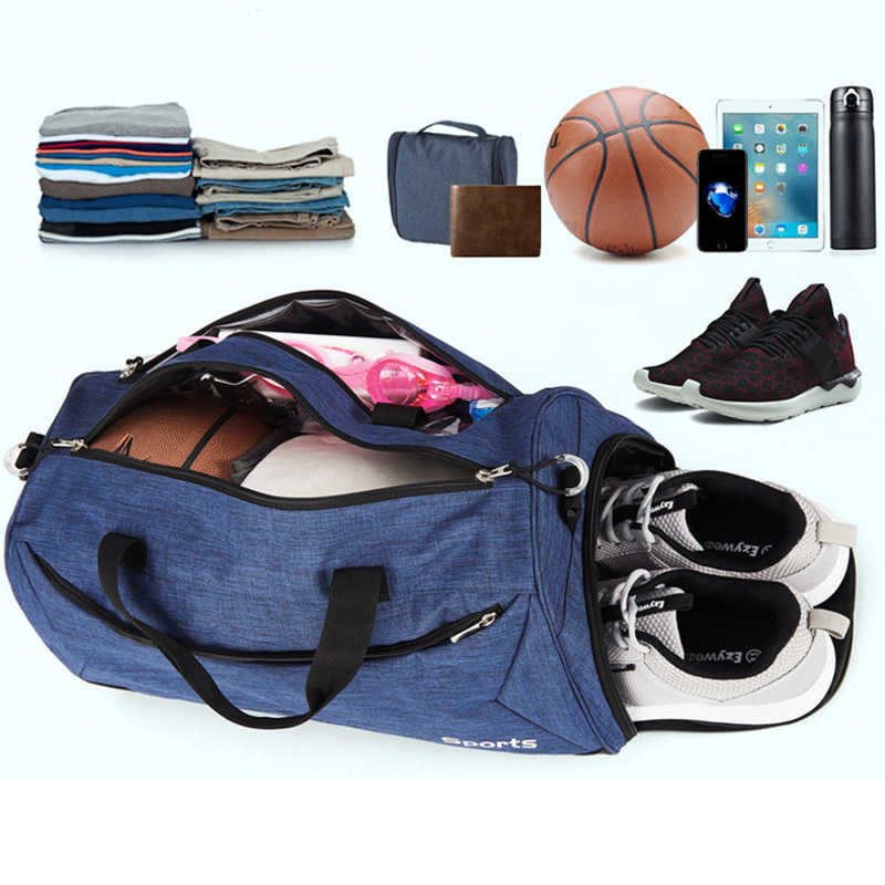 Açık Erkekler spor çantası Eğitim Kadın Yoga Spor Çantası Spor El Bagajı Seyahat Çantası Ayakkabı Cebi Ile Büyük Kapasiteli