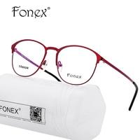 Titanium Brilmontuur Vrouwen Merk Designer Vrouwelijke Vintage Ronde Brillenglazen Rode Volledige Bijziendheid Monturen Eyewear