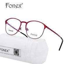 Titanium Glasses Frame Women Brand Designer Female Vintage Round Prescription Eyeglasses Red Full Myopia Optical Frames Eyewear