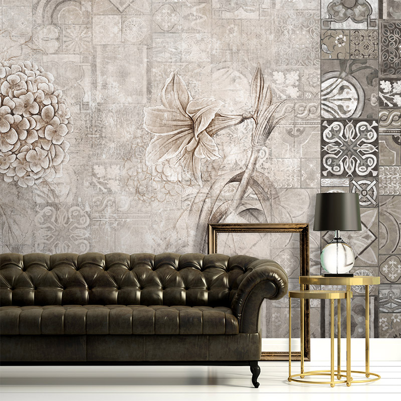 Free shipping Morocco personality double flowers Art Wallpaper