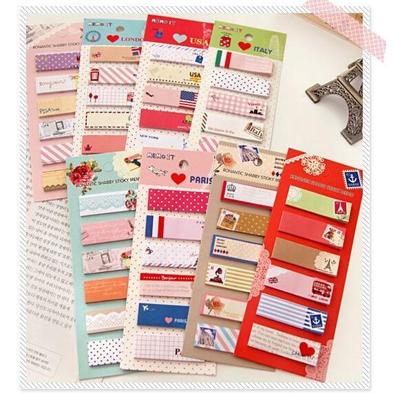 6 sets/lot Cute Mini Memo Pad Sticky Note Kawaii Paper Scrapbooking Sticker Pads Creative Korean Stationery Free shipping 0201