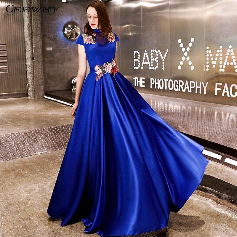 CEEWHY robe en Satin à col haut Abendkleider robe de soirée de luxe broderie robe de soirée Vintage robes de bal 2019 robe rouge