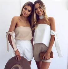 Halter off shoulder Womens shirt tank top women tops Sexy backless summer crop tops Special sleeve