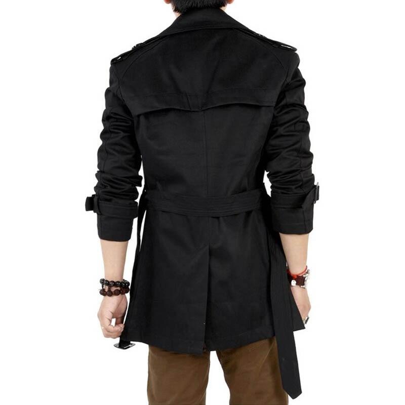 2016 Trench Coat Pria Klasik Ganda Breasted Mens Mantel Panjang - Pakaian Pria - Foto 4