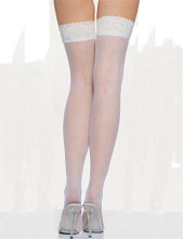 White high body stocking Silk Feeling knee socks for shemales & crossdressers