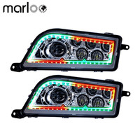 Marloo Left Right ATV Polaris RZR XP 1000 900 S LED Headlights RGB Red Blue Yellow White Green Halo Ring Bluetooth APP control
