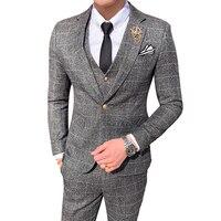 Высококачественный мужской смокинг костюм платье комплект из 3 предметов тонкий дизайн мужской пиджак, жакет со штанами и жилетом серый кра