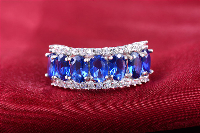 QCOOLJLY Amazing Silver Color Blue Brilliant CZ Zircon Fresh Ring Size 7 8 For Bridal Women Nice Shipping Wholesale