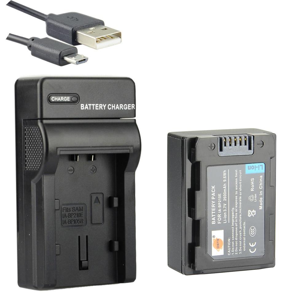 DSTE IA-BP210E Batteria Li-Ion con il Caricatore USB per Samsung SMX-F50 SMX-F70 HMX-H205 HMX-H300 HMX-S15 HMX-S16