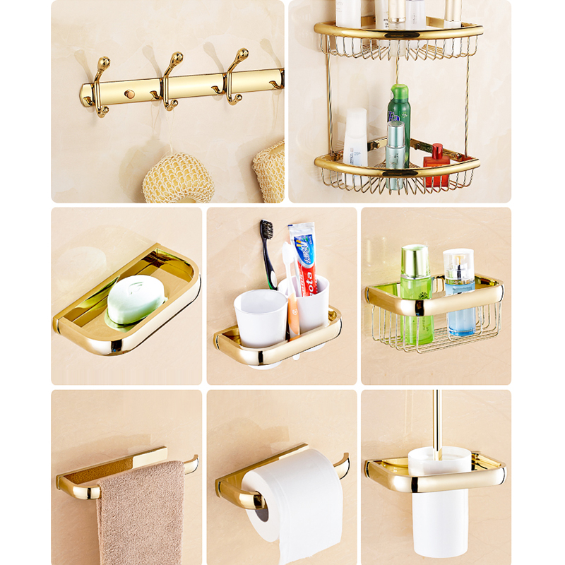 square gold bathroom hardware sets solid brass bath hardware sets polished bathroom accessories sets wall mounted