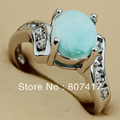 Fashion Larimar Stone and  White Cubic Zirconia  jewelry Silver Plated Promotion Favourite Hot Vintage RING R3533 sz#6 7 8 9