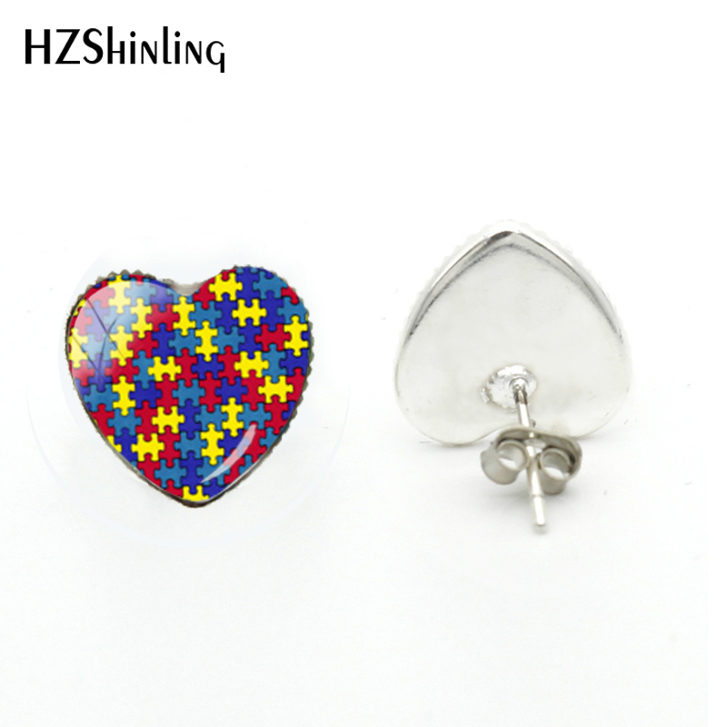 2018 New Autism Awareness Heart Earring Hand Craft Earrings Glass Dome Photo Jewelry Art Ear Studs For Women(China)