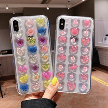 Vintage 3D Heart Real flowers Phone Case for iphone