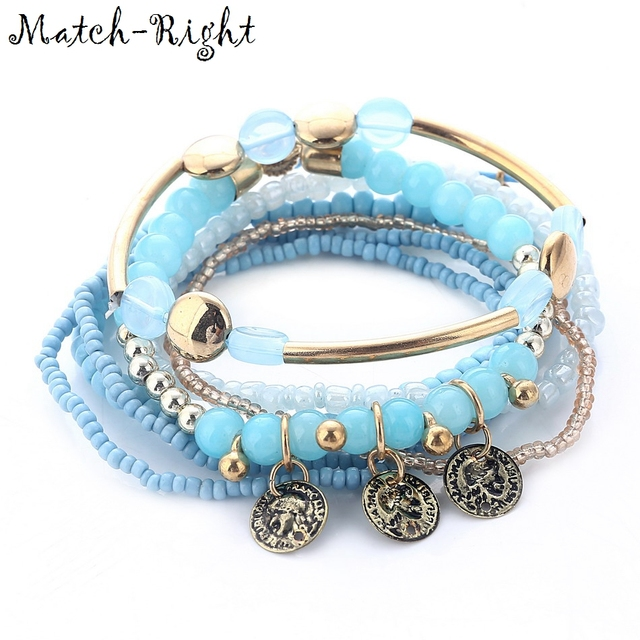 Match-Right Women Bohemia Jewelry of Multilayer Elastic Weave Set Bracelets & Bangles with Coins Charm Wrap Bead Bracelet LG-083