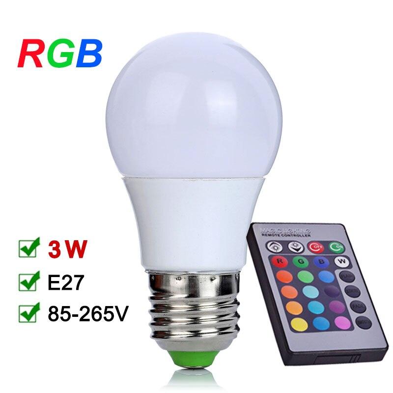u039eNEW E27 RGB LED Bulb  u221e 3W 3W LED Lamp 110V  u20aa 220V 220V Mini High Power Lampada Colorful With     -> Lampada Led Rgb