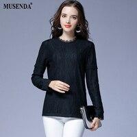 MUSENDA Plus Size Women Elegant Elastic Thick Lace Blouse 2017 Winter Female Lady Fashion Clothing Suit