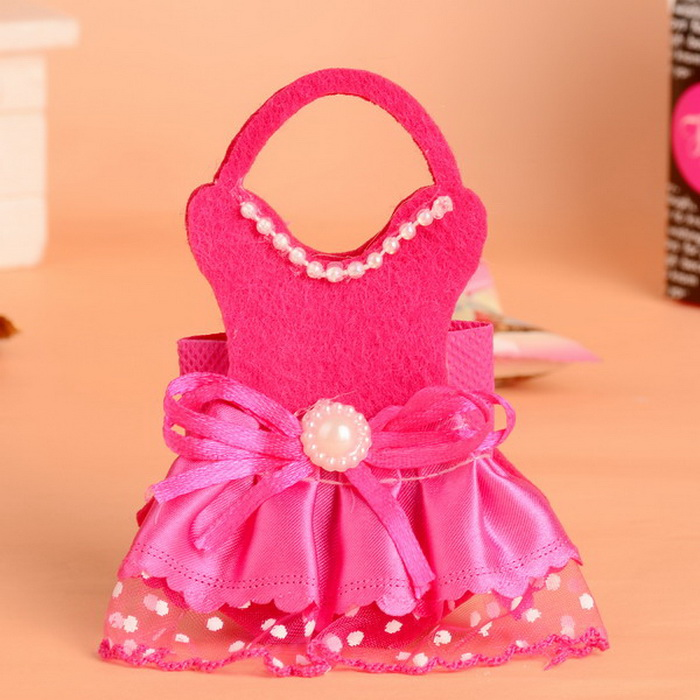 fuchsia/ pink baby girl dress shaped non woven gift bags baby, Baby shower invitation