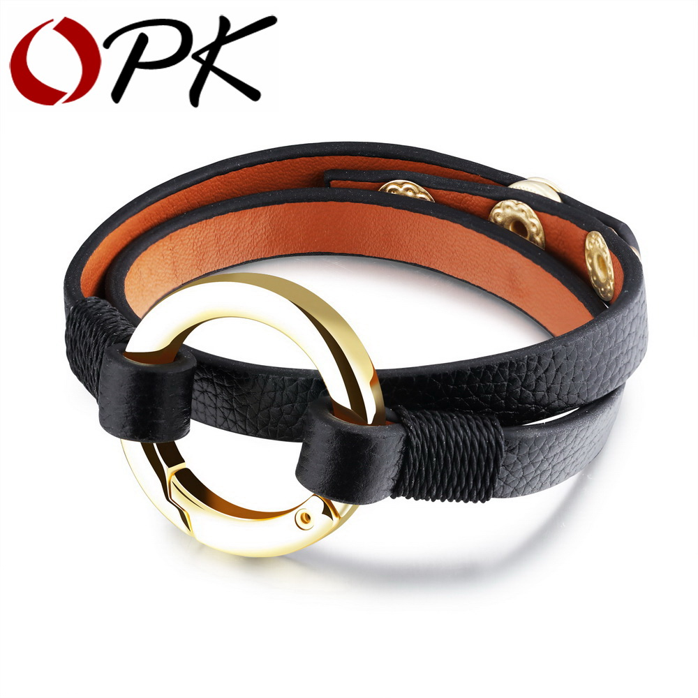 Opk Double Layer Cowhide Leather Bracelet For Women Gold Color High  Polished Circle Adjustable Snap Fastener Bangle Hd1121
