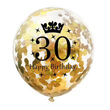 5pc Inflatable Confetti Balloons 12 Inch Latex Clear Birthday Balloons 18 30 40 50 Anniversary Wedding Decoration Party Favors
