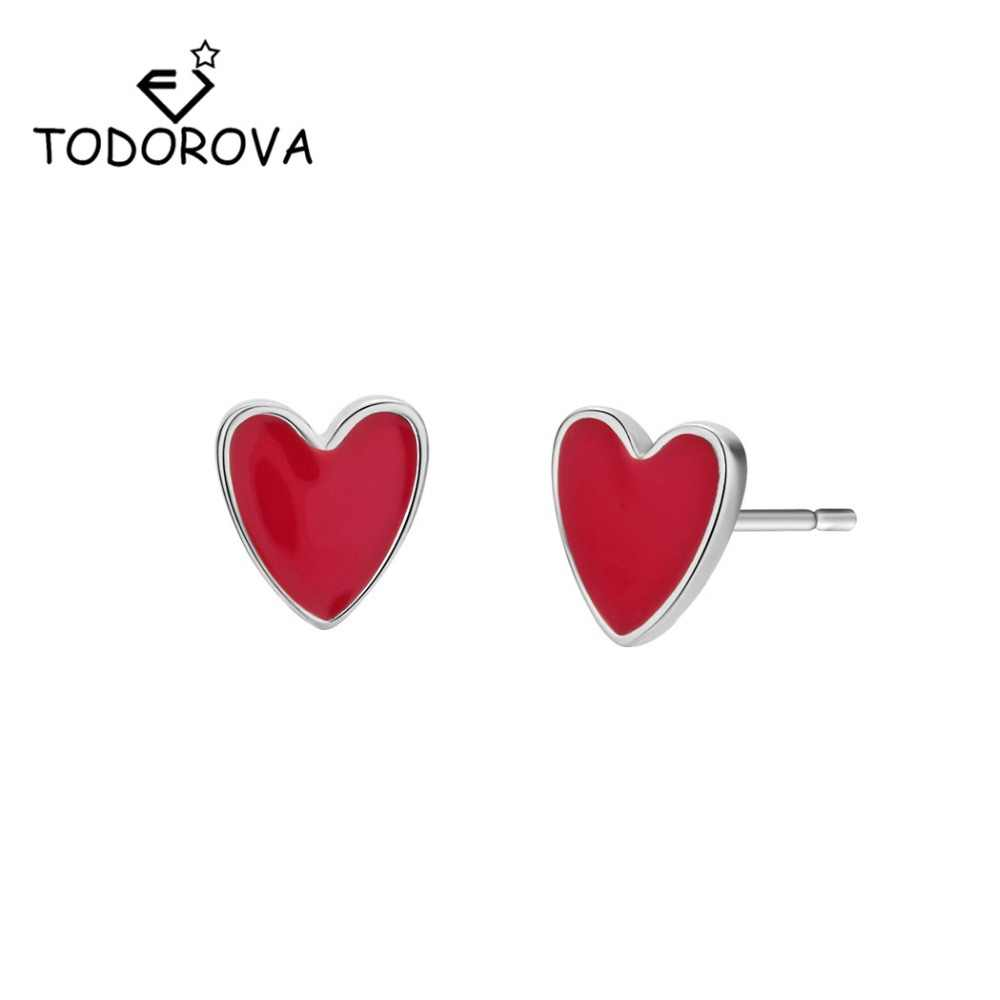 Todorova Korean Fashion Women Earrings Small Earrings Red Heart Stud Earrings for Lovers Gifts Jewellery oorbellen