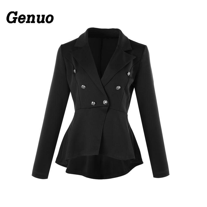 Genuo 2018 Fashion Slim Fit Women Blazer Jacket Solid Ladies Office Elegant Female Button Plus Size