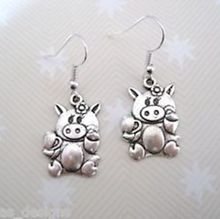 24pair Tibetan Silver *CUTE PIG PIGGY FLOWER* Earrings SP KITSCH NEW 38mm KL1138