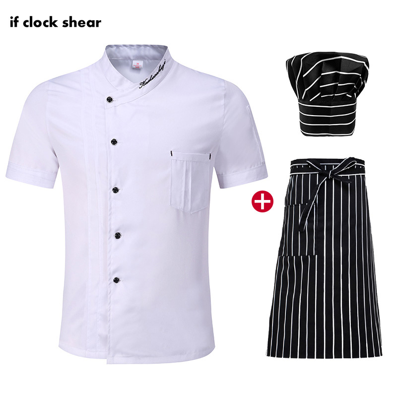 High Quality Unisex Kitchen Cooking Clothes White Chef Jacket Hat Apron White Short Sleeved Chef Restaurant Uniforms Summer Coat