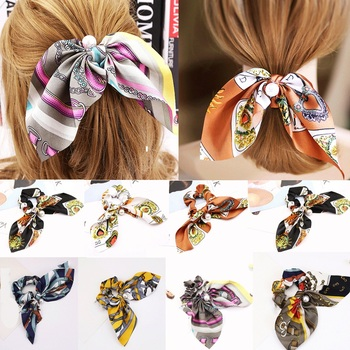 Colorful Romantic Lovely Flower Printed Bowknot Pearls Hair Rope Silk Ponytail