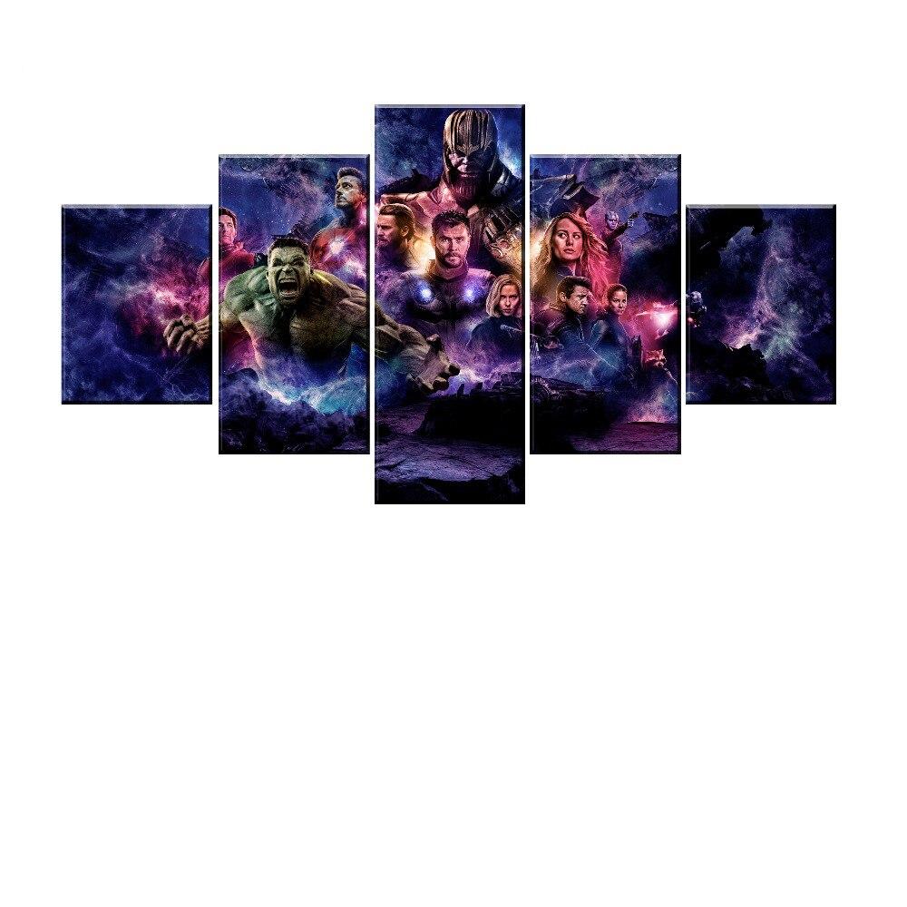 Avengers Endgame DC Vs 5 Panel Wall Art Painting Poster