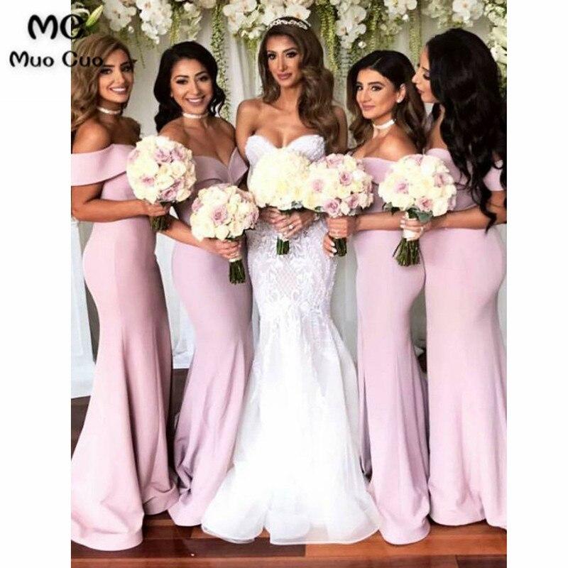 2018 Off Shoulder Mermaid Bridesmaid Dress Short Sleeve Wedding Party Dress Elastic Satin Women Bridesmaid Dresses