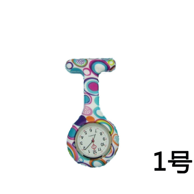 Arabic Numerals Round Dial Silicone Pocket Watch Fashion Nurses Brooch Tunic Fob