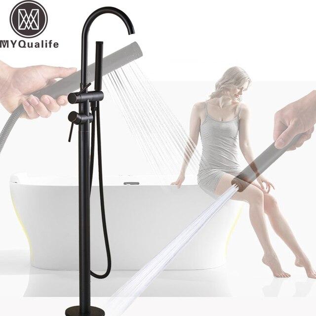 黒ブロンズ浴槽蛇口自立浴室浴槽シンクミキサー2機能handshower噴霧器爪床に取り付けられ浴槽の蛇口