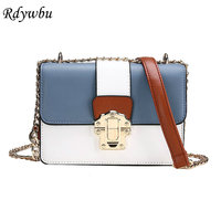 Rdywbu Spring Panelled Chain Shoulder Bag Women New Fashion PU Leather Crossbody Bag Girls Summer Candy