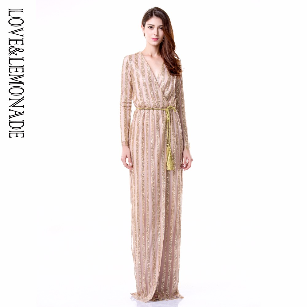 Love&Lemonade .  Stripes Cross V Collar Body Long Dresses Green/Silver/Gold/Black/Red LM0266 Autumn/Winter-in Dresses from Women's Clothing    3