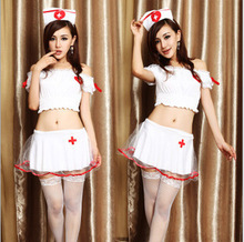 N041 2016 New COSPLAY temptation to nurse Sexy lingerie women costumes Sex Products toy Two Pieces Sexy underwear Role play
