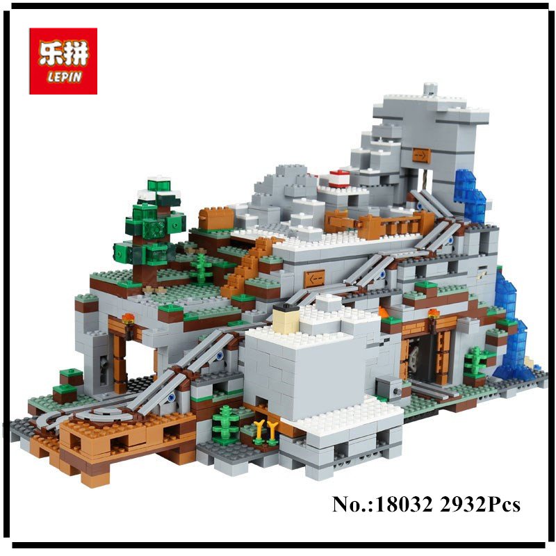 LEPIN 18032 Model Building Kit Blocks Bricks Miniecraft 2932pcs The Mountain Cave My worlds Compatible with 21137 dhl lepin 18032 2932 pcs the mountain cave my worlds model building kit blocks bricks children toys clone21137 in stock