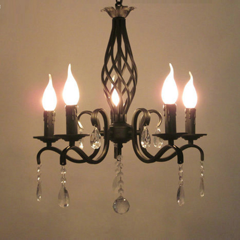 Black Antique Wrought Iron Chandelier Lights Kitchen Mini