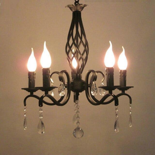 Negro antigua araña de hierro forjado cocina mini vintage lámpara ...