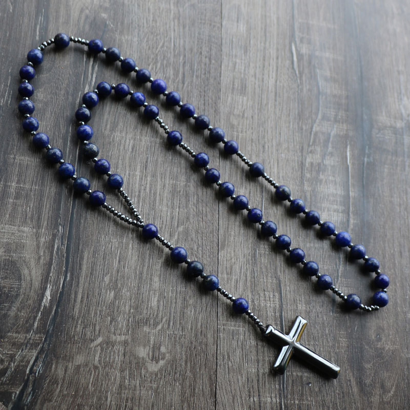 New Design Lapis Lazuli Natural Stone Beads Men Women Rosary Necklace Hemitate Cross Long Necklace fashion natural stone 13x18mm lovely oval lapis lazuli stones beads chain necklace for women party wedding jewelry 18inch my5179