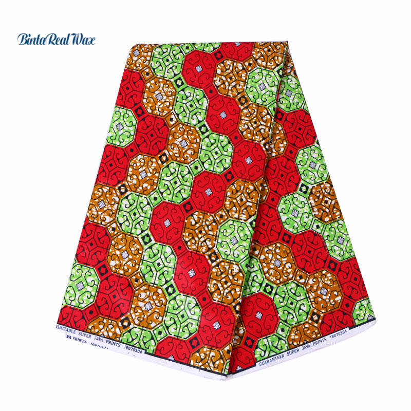 2018 Latest style 100 Cotton African Wax Clothes binta real Wax 6 yards for party dress