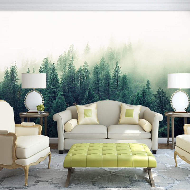 Bacaz Custom 3d Papel Murals Nature Fog Trees Forest Wallpaper 3d Wall Photo Mural forest Wall paper for bedroom 3D Wall Murals 3d papel parede forests trees bridge reflection scenery 3d wall paper mural 3d photo wallpaper 3d wall mural for sofa background