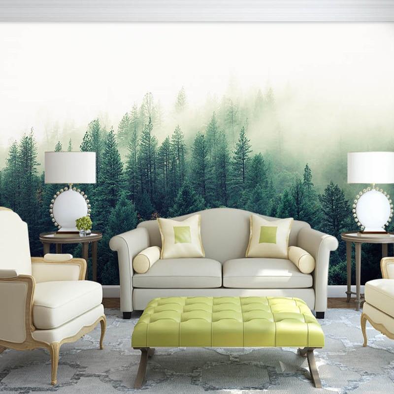 Bacaz Custom 3d Papel Murals Nature Fog Trees Forest Wallpaper 3d