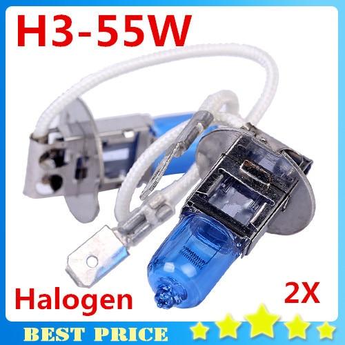 Frete Grátis 1 pair 12 V 55 W H3 Farol Lâmpada Xenon Lâmpada Halógena Substituição do Vidro Do Carro Azul Escuro Super Brilhante