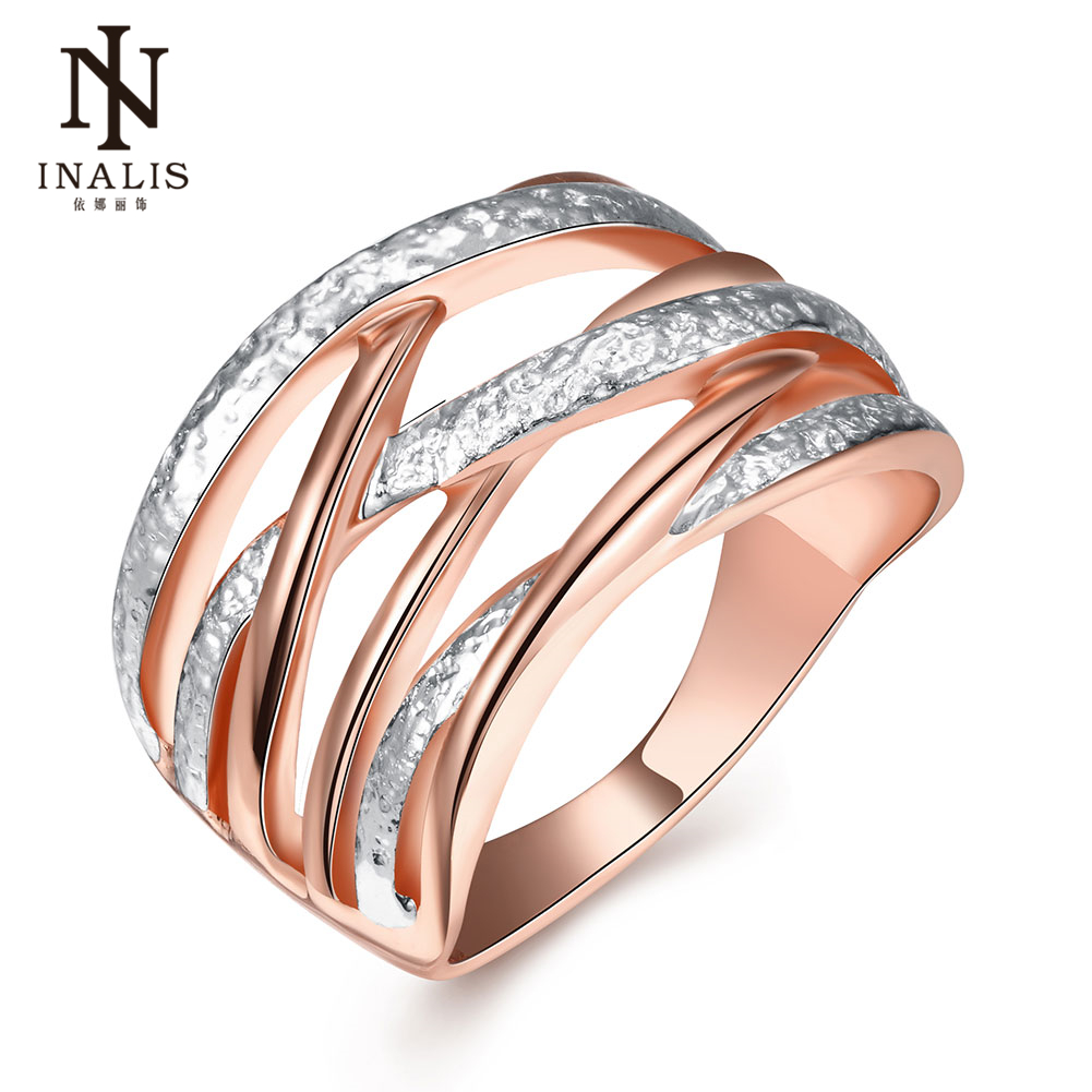 INALIS Brand New Fashion Jewelry Gold & Silver Color Cross Rings For Women Size 6 7 8 Fe ...