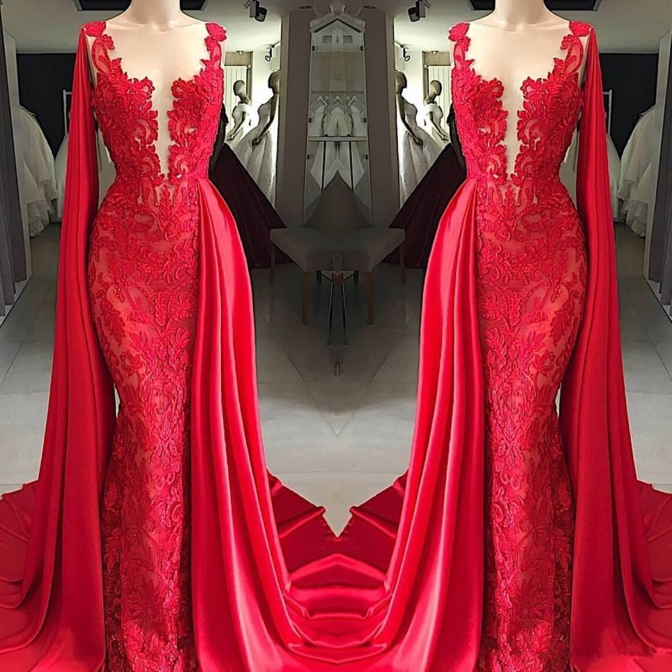 Red Muslim   Evening     Dress   2019 Mermaid Appliques Lace Islamic Dubai Saudi Arabic Long   Evening   Gown Prom   Dresses   abiye
