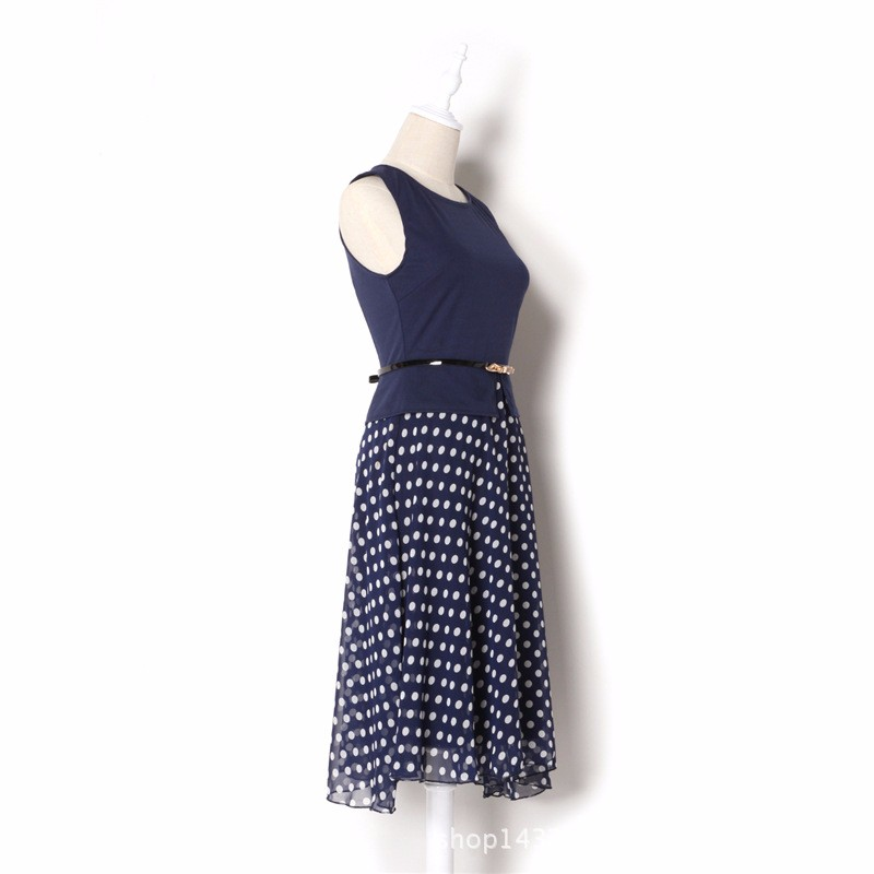 2017 Women Summer Wave point Dress Party Bodycon Dresses plus size Sleeveless Sundress Vestido PU Belt Casual Polka Dot the work 4